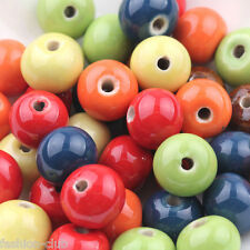 10Pcs Flat Ceramic Porcelain Spacer Beads Charm For Bracelet Jewelry Making 10mm