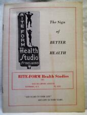 RITE FORM HEALTH STUDIOS GYM ADVERTISING BROCHURE 1960 PHYSICAL FITNESS VINTAGE