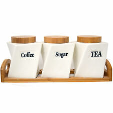 Set of 3 Ceramic Canister Storage Pots Tea Coffee Sugar Jar Wooden Tray & Lid BN