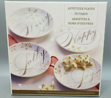"""SET of 4 Pier One Holiday Appetizer Gold Trim Plates 6""""  w/ Glass Drink Stirrers"""