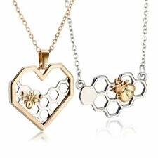 Honeycomb Bee Necklace, Silver & Gold Pendant, UK Seller, BNWT