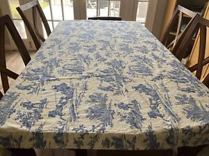 """Williams Sonoma Harvest Blue Toile French Country Tablecloth 68"""" x 70"""" Italy"""