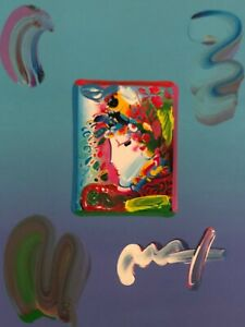 """Peter Max, """"BLUSHING BEAUTY"""" Mixed Media Signed Painting"""