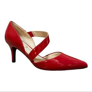 Life Stride Suki Fire Red Patent Faux Leather Asymmetrical Heel Pumps Size 6M