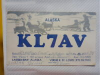 OLD VINTAGE QSL HAM RADIO CARD. KODIAK, ALASKA. 1955