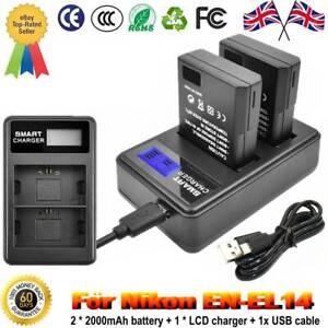 EN-EL14(A) Rechargeable Battery for Nikon D3500,D5600,D3300,D5100 Camera+Charger