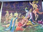 VINTAGE RARE OLD LITHOGRAPH PRINT HINDU GODS CALENDAR 4 PAGE
