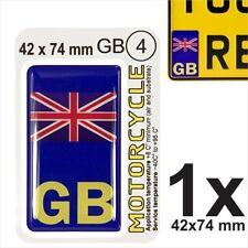 GB Union Jack NUMBER PLATE 3D GEL STICKER Motorcycles Resin Domed UK Side Badge