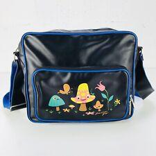 Gama-Go Leather Mushroom Messenger Bag Black Leather / Blue Trim 11½ x 15½