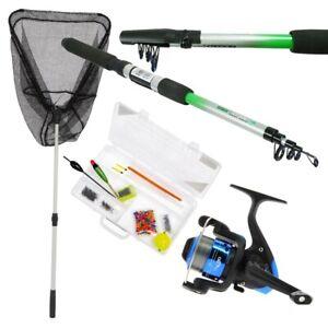 Telescopic Fishing Rod & Reel Set With Fishing Net And Handle Kids Rod Reel Sst