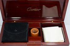 Cartier OEM Luxury Cleaning Kit Mahogony Box  Loupe Pasha & Travel Case NOS
