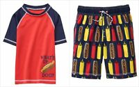 NWT Gymboree Getaway Shop Hot Dog Boys Rashguard Board Shorts Swim Trunks Set