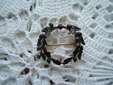 Vintage 14k Black Enamel Wreath Mourning Pin