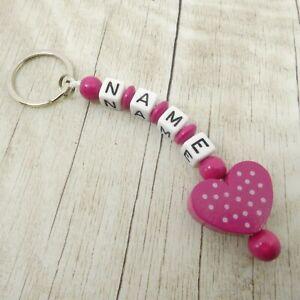 Schlüsselanhänger mit Namen, Herz mit Punkten, pink,  Mädchen, Geschenk
