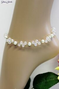 Glass Jewellery Stainless Steel Silver Ankle Chain Bridal Jewelry White Beads