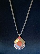 LUCKY BRAND Leather Silver-Tone Coral Set Stone Necklace NWT $39 Fast Shipping!!