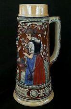 Antique German huge stoneware HIGH RELIEF beer stein bierkrug 1.5 L., 11 inches