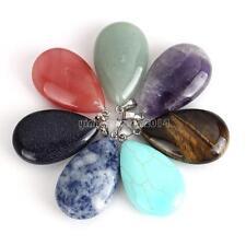Fashion Gemstone Jewelry Teardrop Shape Healing Chakra Quartz Stone Pendant Gift