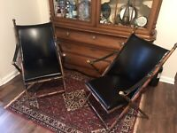 2 Mid Century Faux Bamboo Folding Campaign Chairs