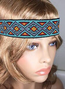 NATIVE STYLE HANDCRAFTED BEADED MULTI-COLOR STRETCHABLE HAIR BAND/HEADBAND Z54/5