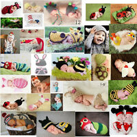 Baby Girls Boy Newborn -24M Knit Crochet Costume Photo Prop Hat Cap Outfits Set