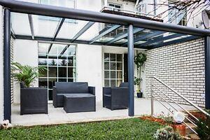 Terrassenüberdachung aus Aluminium 12mm VSG-Glas in 4m/ 5m / 6m / 6,5m/7m Breite