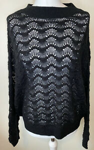 Oliver Bonas Black Lace Knit Oversized Jumper Size 10 Relaxed Casual Slouchy