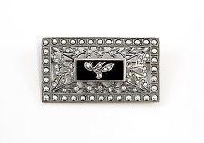 925 Silver Art Nouveau Brooch m. Onyx, Swarovski Stones, synth. Bead 9901537
