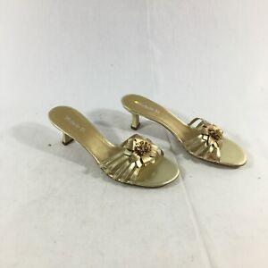 Michelle D Womens Gold Leather Slip On Slide Flower Embellished Sandals Sz 8.5M