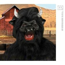 BLACK BULL MASK W/PLUSH FUR Accessory for Farm Cow Spain Animal Fancy Dress