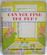 Vtg Childrens Pop-Up Book Can You Find the Pup 1945 Saalfield Animated