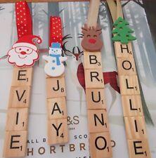 Christmas Scrabble Tile Personalised Tree Decoration Handmade Wooden Vintage