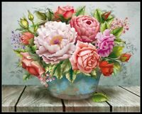 Flowers in the Bucket - Chart Counted Cross Stitch Pattern Needlework Xstitch