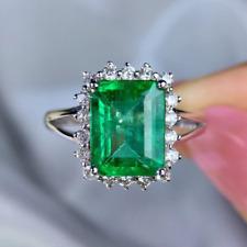 2.3Ct Green Emerald Split Shank Halo Women's Engagement Ring 14k White Gold Over