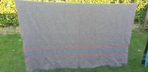 Vintage Military Army Style Whipped End Blanket Wool Mix Blanket Bedding