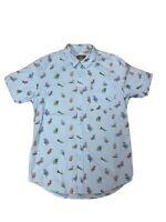 Hemp Mens Sz Small Button Up Shirt Short Sleeves Collared Beach Chair Print