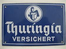 Thuringia Versicherung Schild Emaille altes Emailleschild Emailschild Reklame