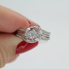 CUTE 10K WHITE GOLD NATURAL DIAMOND COCTAIL RING 0.25CTTW 2.6GR SIZE 7