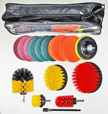 Drill Power scrub brush cleaning set with bottle brush