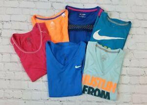LOT OF 6 Nike Dri Fit Adidas Filas XS-S Sports Shirts Tops Running Workout