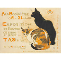 Steinlen Bodiniere Artist's Own Exhibition Cats Advert Canvas Art Print Poster
