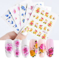 55Pcs Cherry Nail Water Decals Flower Butterfly Nail Art Transfer Stickers Decor
