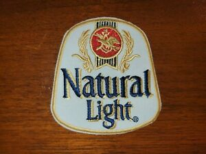 """NATURAL """"NATTY"""" LIGHT BEER RED & YELLOW  Embroidered 3"""" x 3.25"""" Iron On Patch"""