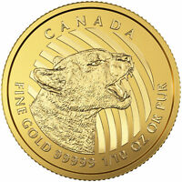 Lot of 10 - 2016 Canadian 1/10oz Gold Growling Cougar .99999 in Assay