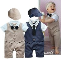 Baby Boy Wedding Christening Tuxedo Formal Suit Romper Outfit Clothes+HAT Set