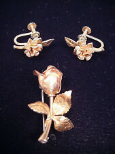Krementz Pin Earring Set Rose Yellow Gold Plated Screw Back Roses Vintage