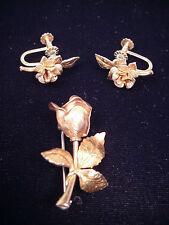 Vintage Krementz Pin Earring Set Rose Yellow Gold Plated Screw Back Roses