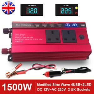 1500w Car Power Inverter 12 Volt To 240v Electric Charger Invertors Converter UK