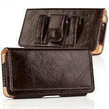 Luxury Genuine Leather Case Cover Pouch Holster Belt Clip for iPhone Samsung