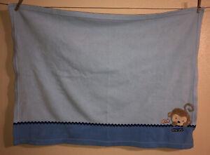 "Child Of Mine Carter's Monkey Ant Snuggly Blue Fleece Lovey Baby Blanket 28""x41"""
